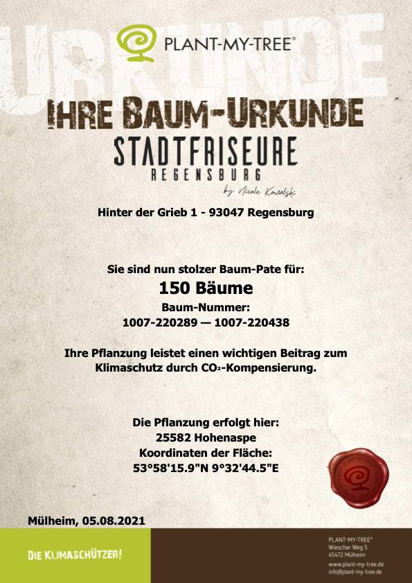 Baum Urkunde Stadtrfriseure Regensburg
